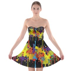 Crazy Multicolored Double Running Splashes Horizon Strapless Bra Top Dress