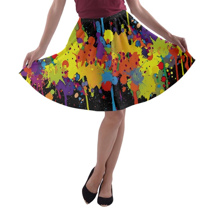 Crazy Multicolored Double Running Splashes Horizon A-line Skater Skirt