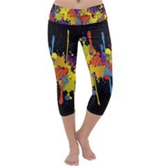 Crazy Multicolored Double Running Splashes Horizon Capri Yoga Leggings