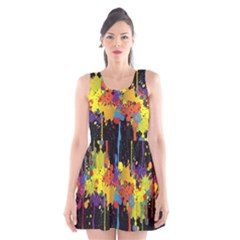Crazy Multicolored Double Running Splashes Horizon Scoop Neck Skater Dress