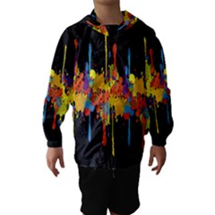 Crazy Multicolored Double Running Splashes Horizon Hooded Wind Breaker (Kids)