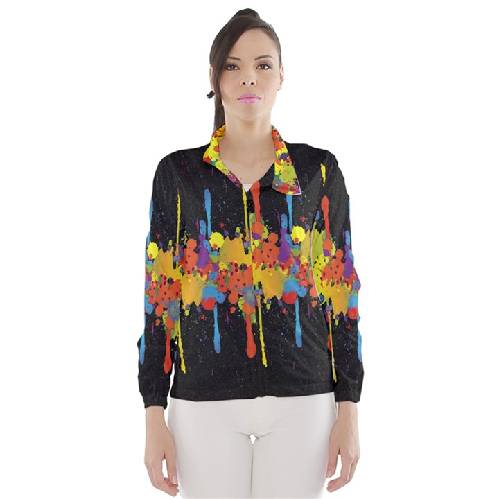 Crazy Multicolored Double Running Splashes Horizon Wind Breaker (Women)
