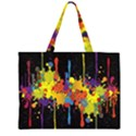 Crazy Multicolored Double Running Splashes Horizon Large Tote Bag View1