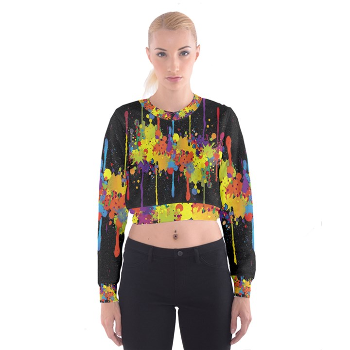 Crazy Multicolored Double Running Splashes Horizon Women s Cropped Sweatshirt