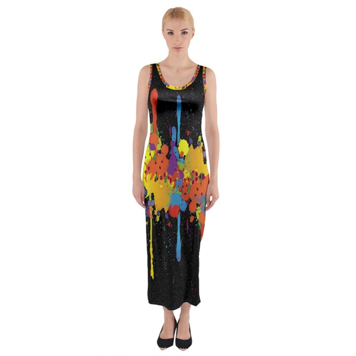 Crazy Multicolored Double Running Splashes Horizon Fitted Maxi Dress