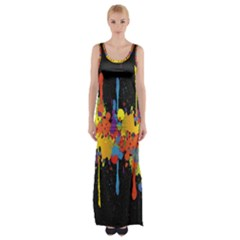 Crazy Multicolored Double Running Splashes Horizon Maxi Thigh Split Dress