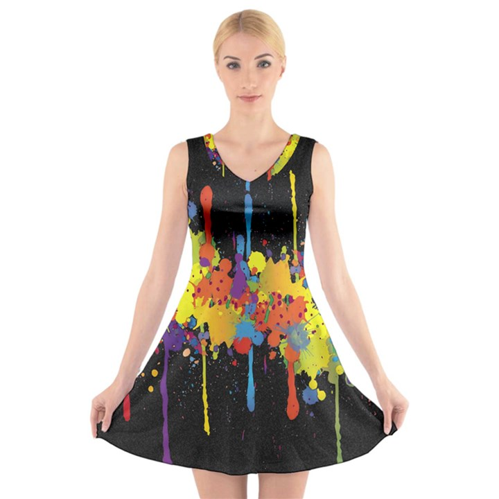 Crazy Multicolored Double Running Splashes Horizon V-Neck Sleeveless Skater Dress