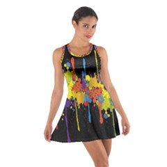 Crazy Multicolored Double Running Splashes Horizon Cotton Racerback Dress
