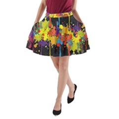 Crazy Multicolored Double Running Splashes Horizon A-Line Pocket Skirt