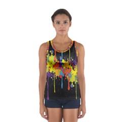 Crazy Multicolored Double Running Splashes Horizon Women s Sport Tank Top
