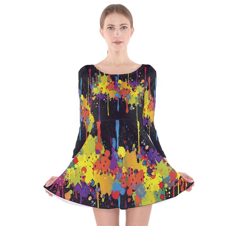 Crazy Multicolored Double Running Splashes Horizon Long Sleeve Velvet Skater Dress