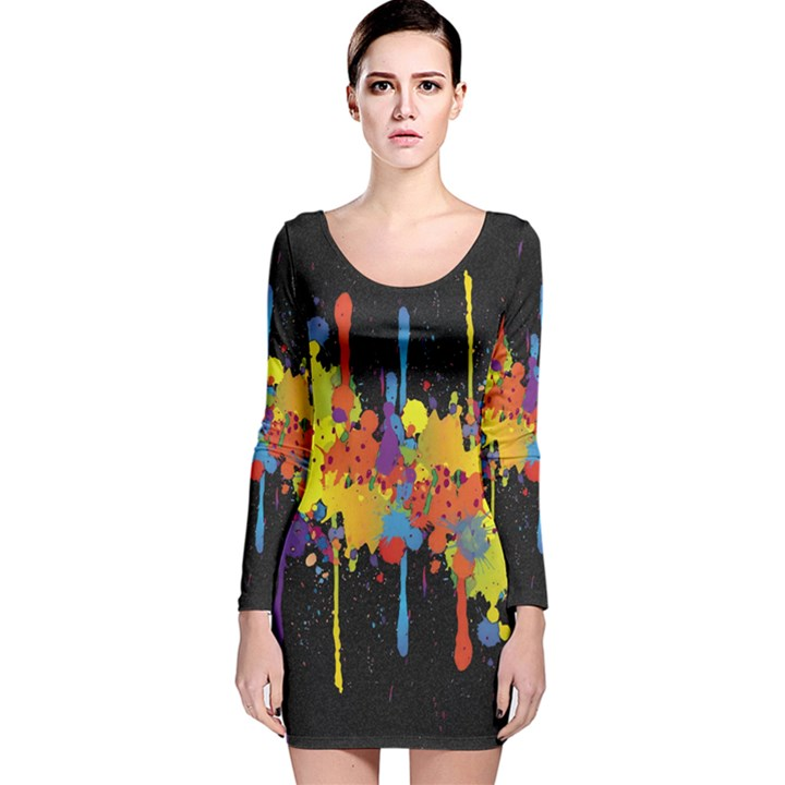 Crazy Multicolored Double Running Splashes Horizon Long Sleeve Velvet Bodycon Dress