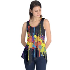 Crazy Multicolored Double Running Splashes Horizon Sleeveless Tunic