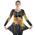 Crazy Multicolored Double Running Splashes Horizon Long Sleeve Tunic  View1