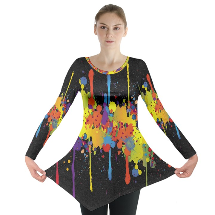 Crazy Multicolored Double Running Splashes Horizon Long Sleeve Tunic
