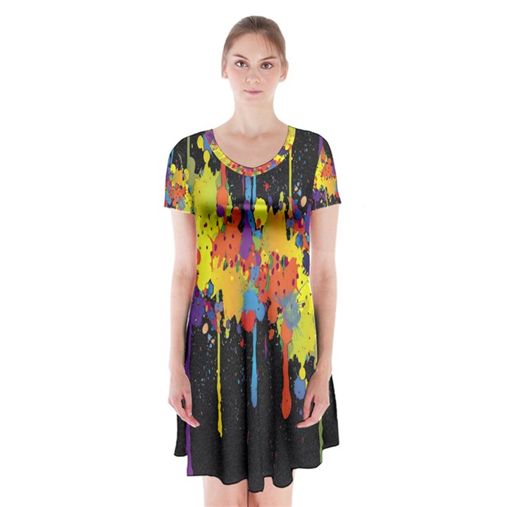 Crazy Multicolored Double Running Splashes Horizon Short Sleeve V-neck Flare Dress