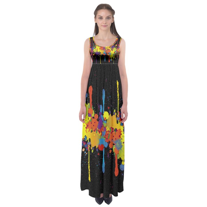 Crazy Multicolored Double Running Splashes Horizon Empire Waist Maxi Dress