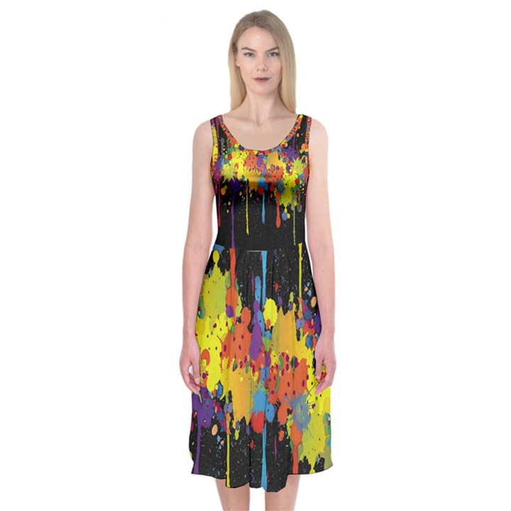 Crazy Multicolored Double Running Splashes Horizon Midi Sleeveless Dress