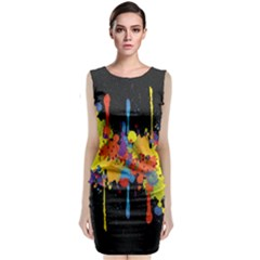 Crazy Multicolored Double Running Splashes Horizon Classic Sleeveless Midi Dress
