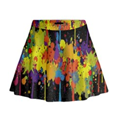Crazy Multicolored Double Running Splashes Horizon Mini Flare Skirt