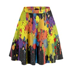 Crazy Multicolored Double Running Splashes Horizon High Waist Skirt