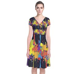 Crazy Multicolored Double Running Splashes Horizon Short Sleeve Front Wrap Dress