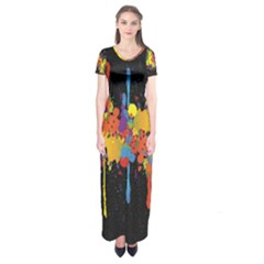 Crazy Multicolored Double Running Splashes Horizon Short Sleeve Maxi Dress
