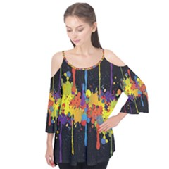 Crazy Multicolored Double Running Splashes Horizon Flutter Tees