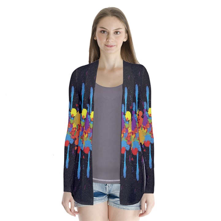 Crazy Multicolored Double Running Splashes Horizon Drape Collar Cardigan