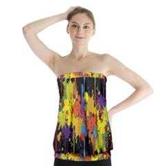 Crazy Multicolored Double Running Splashes Horizon Strapless Top