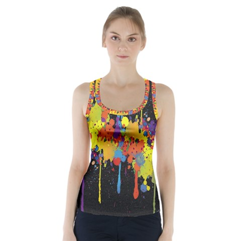 Crazy Multicolored Double Running Splashes Horizon Racer Back Sports Top