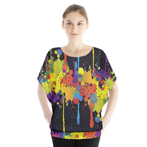 Crazy Multicolored Double Running Splashes Horizon Blouse