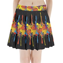 Crazy Multicolored Double Running Splashes Horizon Pleated Mini Skirt