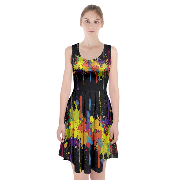Crazy Multicolored Double Running Splashes Horizon Racerback Midi Dress