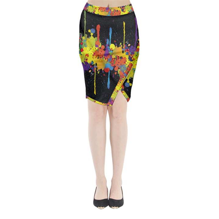 Crazy Multicolored Double Running Splashes Horizon Midi Wrap Pencil Skirt