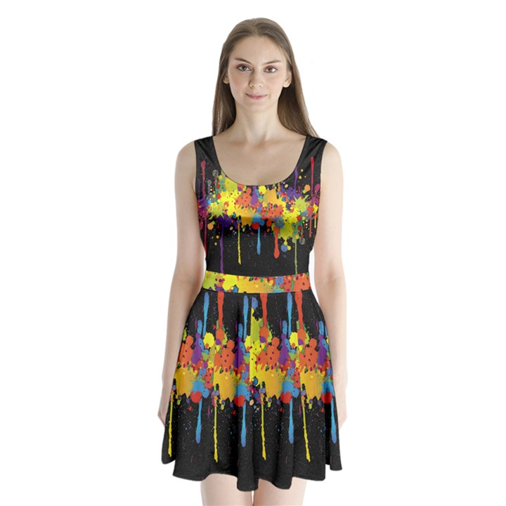 Crazy Multicolored Double Running Splashes Horizon Split Back Mini Dress