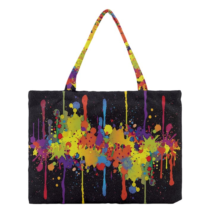 Crazy Multicolored Double Running Splashes Horizon Medium Tote Bag