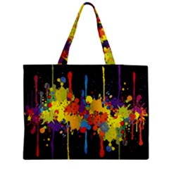 Crazy Multicolored Double Running Splashes Horizon Medium Zipper Tote Bag
