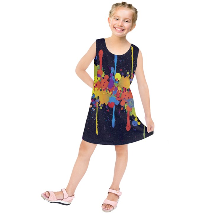 Crazy Multicolored Double Running Splashes Horizon Kids  Tunic Dress