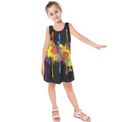 Crazy Multicolored Double Running Splashes Horizon Kids  Sleeveless Dress