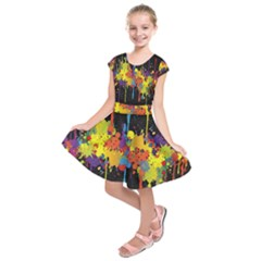 Crazy Multicolored Double Running Splashes Horizon Kids  Short Sleeve Dress