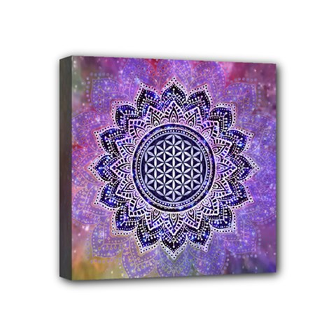 Flower Of Life Indian Ornaments Mandala Universe Mini Canvas 4  X 4