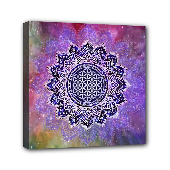 Flower Of Life Indian Ornaments Mandala Universe Mini Canvas 6  x 6