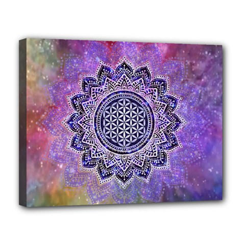 Flower Of Life Indian Ornaments Mandala Universe Canvas 14  x 11