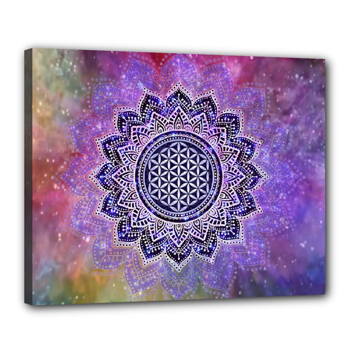 Flower Of Life Indian Ornaments Mandala Universe Canvas 20  x 16