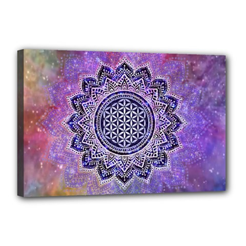 Flower Of Life Indian Ornaments Mandala Universe Canvas 18  x 12