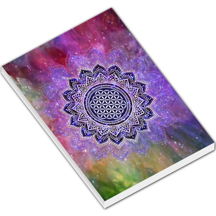 Flower Of Life Indian Ornaments Mandala Universe Large Memo Pads