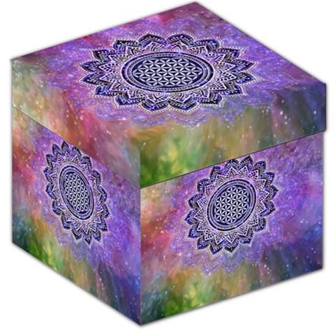 Flower Of Life Indian Ornaments Mandala Universe Storage Stool 12