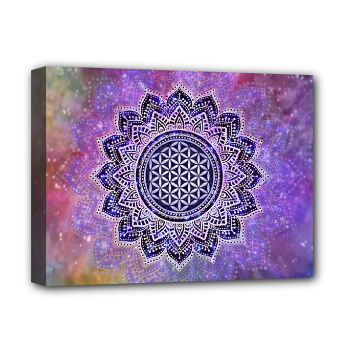 Flower Of Life Indian Ornaments Mandala Universe Deluxe Canvas 16  x 12