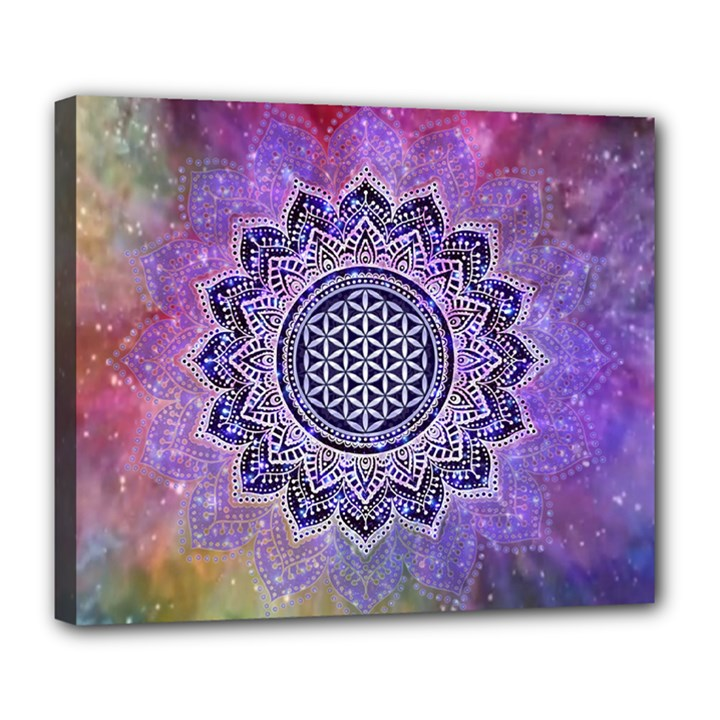 Flower Of Life Indian Ornaments Mandala Universe Deluxe Canvas 24  x 20